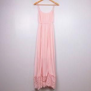 Motherhood Light Pink Lace Trim Maxi Dress